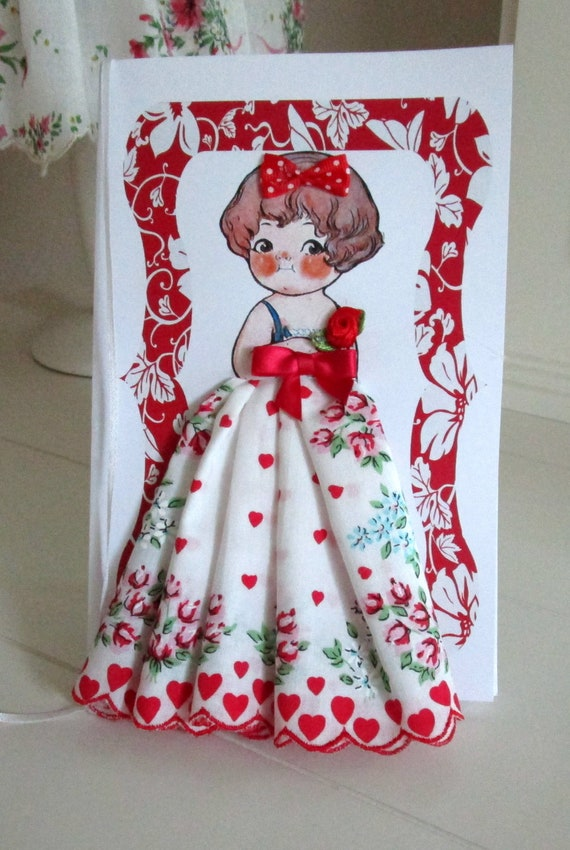 Dolly Dingle Valentine Paper Doll Hanky Card