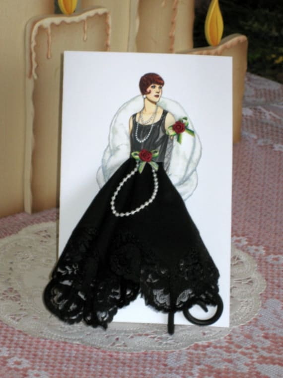 1925 Flapper Keepsake Hanky Card