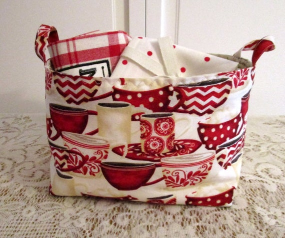 Red Teacups Fabric Basket