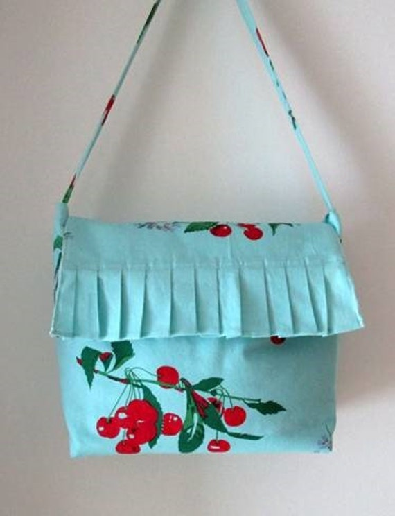 Retro Cherry Tote Purse Teal