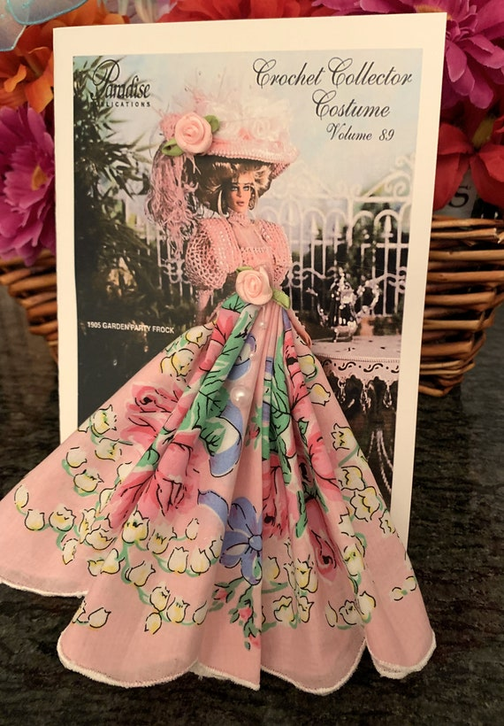 Crochet Costume Lady in Pink Keepsake Hankie Card