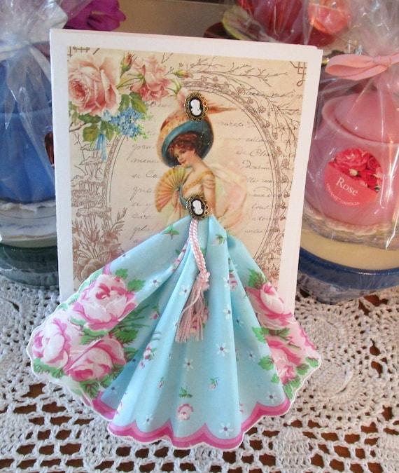 Victorian Lovely Lady Keepsake Hanky Card