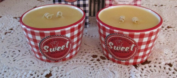 Creme Brulee Red Gingham Check Ramekin Candle