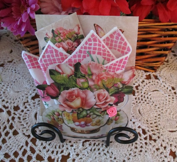 Teacup Keepsake Hankie Card Apricot