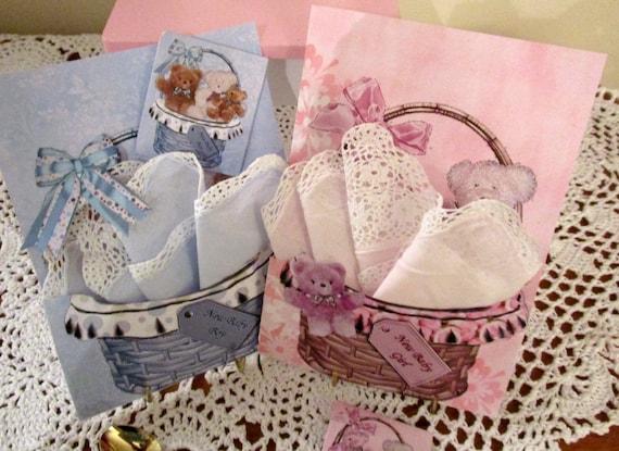 Baby Basket Keepsake Hankie Card