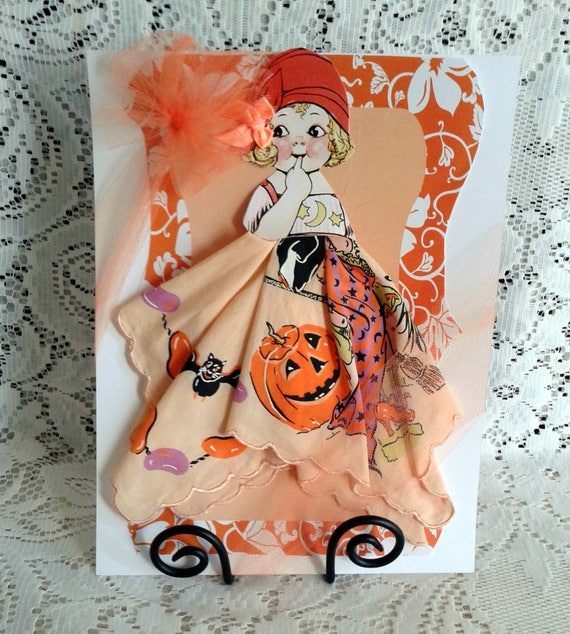 Wanda Witch Paper Doll Hanky Card