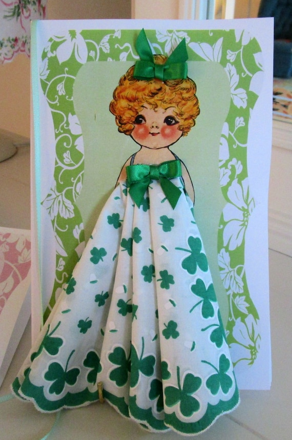 Shamrock Dolly Dingle Paper Doll Hanky Card