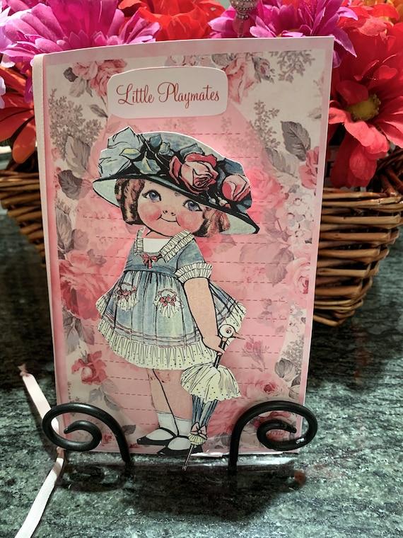 Little Playmates Keepsake Paper Doll Greeting Card