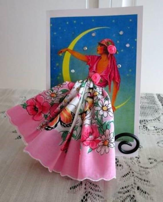 Gypsy Moonlight Hankie Keepsake  Card