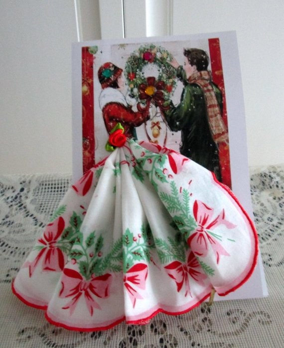 The Christmas Wreath Keepsake Hankie Card