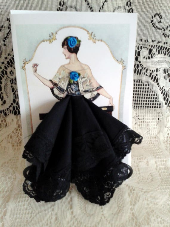 Tapestry Dress Art Deco Flapper Girl Keepsake Hankie Card