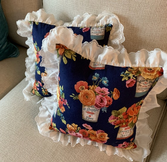 Floral Ruffled Pillow