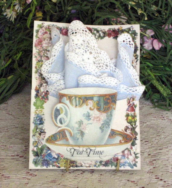 Tea Cup Keepsake Hanky Card