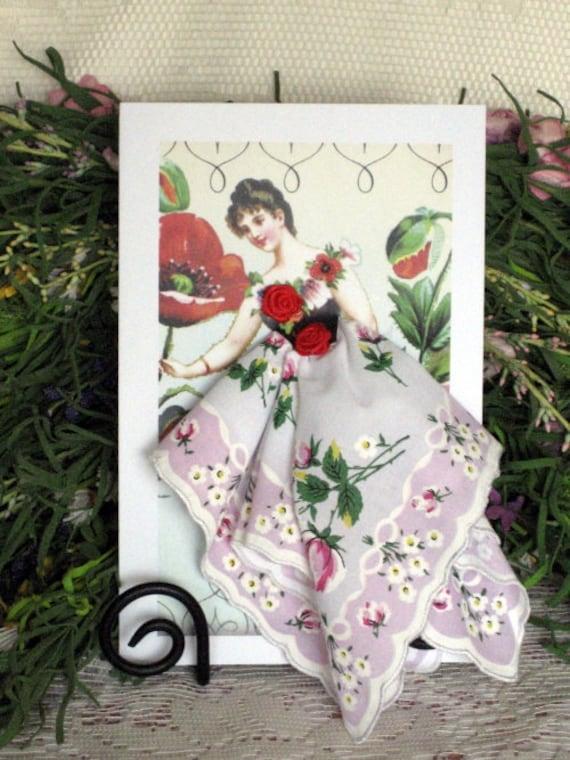 Rose Flower Fairy Hanky Card