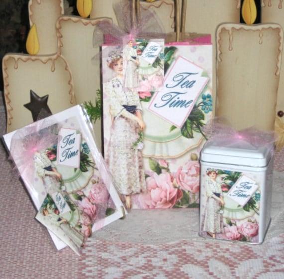 Tea Time Lady Gift Bag Set