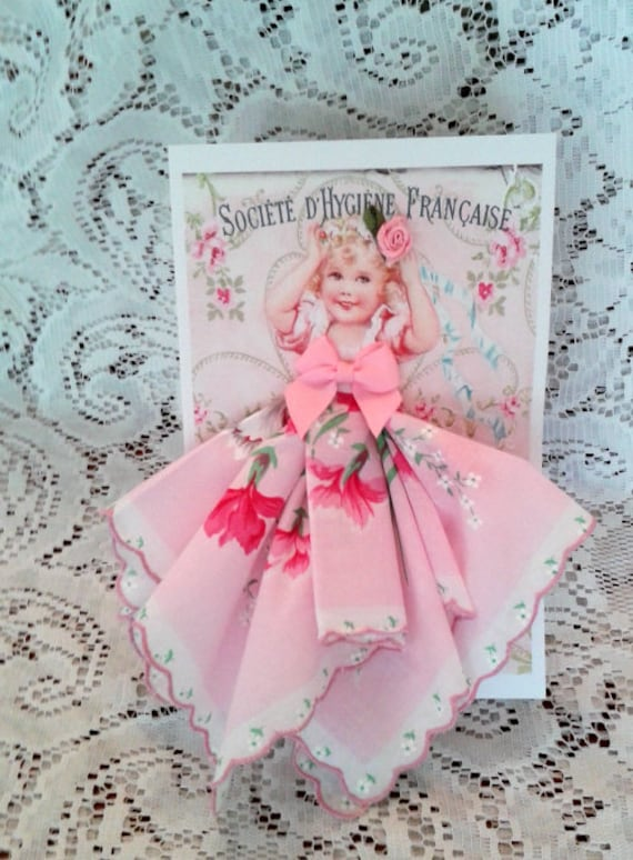 Little French Darling Keepsake Hanky Card
