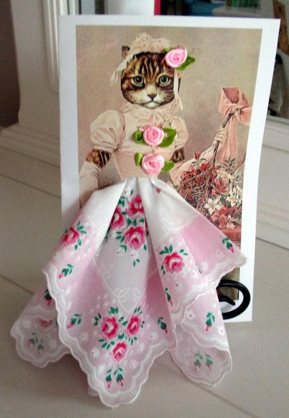 Victorian Cat Hankie Card