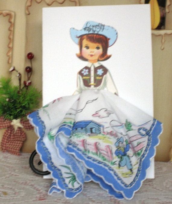 Little Lady Cowgirl Hanky Card
