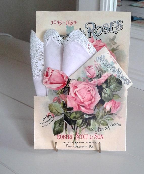 Scott's Roses Seed Packet Hankie Card