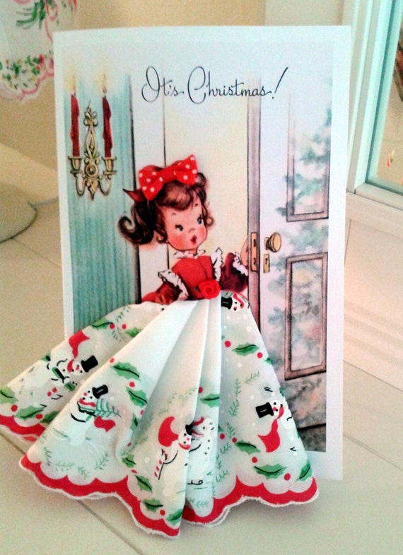 It's Christmas Keepsake Hankie  Card