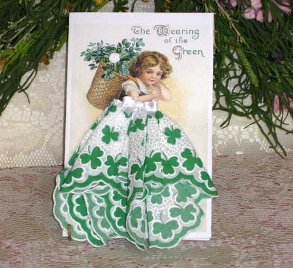 Little Lady Shamrock Keepsake Hankie Card