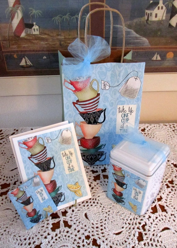 Stacked Tea Cups Gift Bag Set