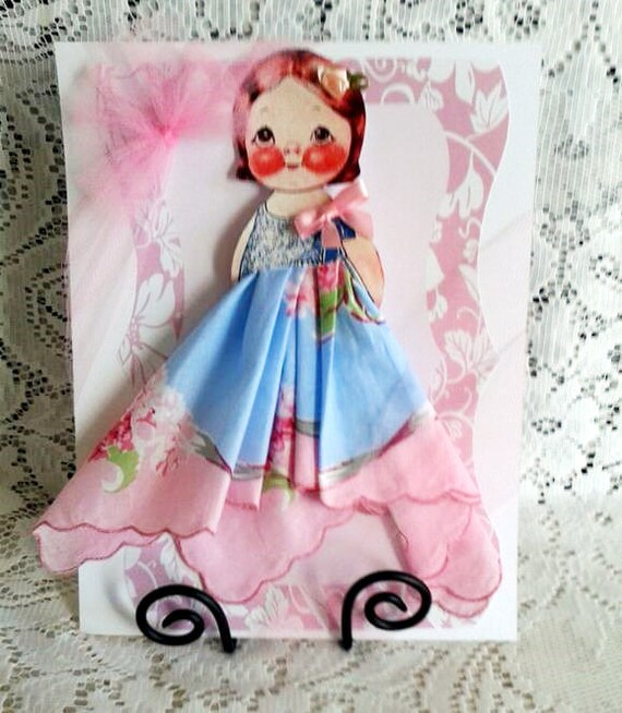 Linda Dolly Dingle Paper Doll Hankie Card