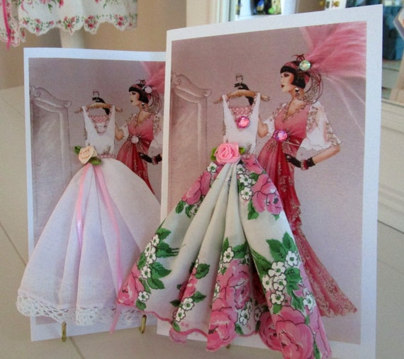 Art Deco Glamour Girl Dress Keepsake Hankie Card
