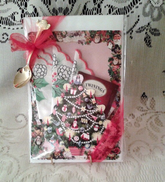 Christmas Tree Keepsake Hanky Card with spoon