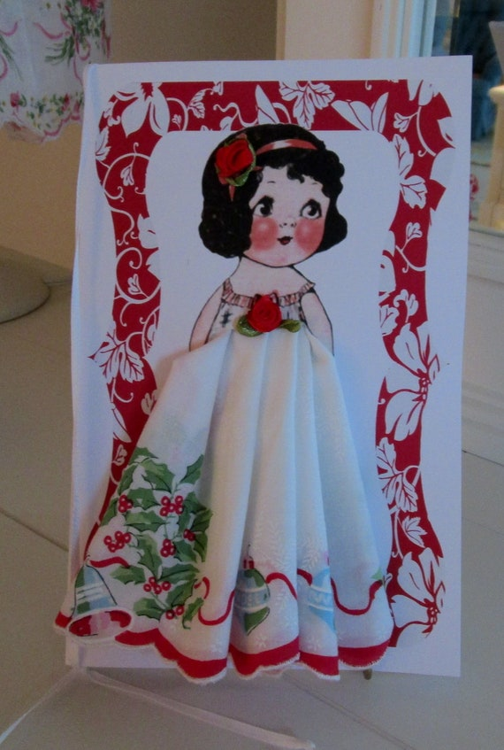 Dolly Dingle Paper Doll Hanky Card Holly