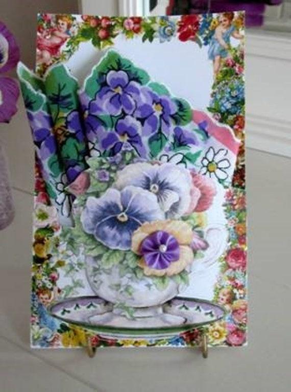 Pansy Teacup Keepsake Hankie Card