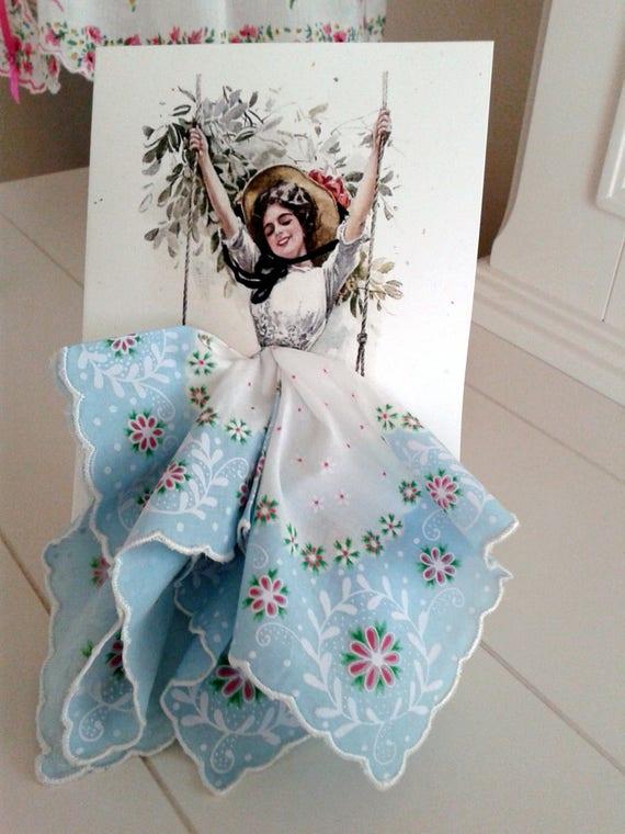 Harrison Fisher Girl on a Swing Keepsake Hanky Card