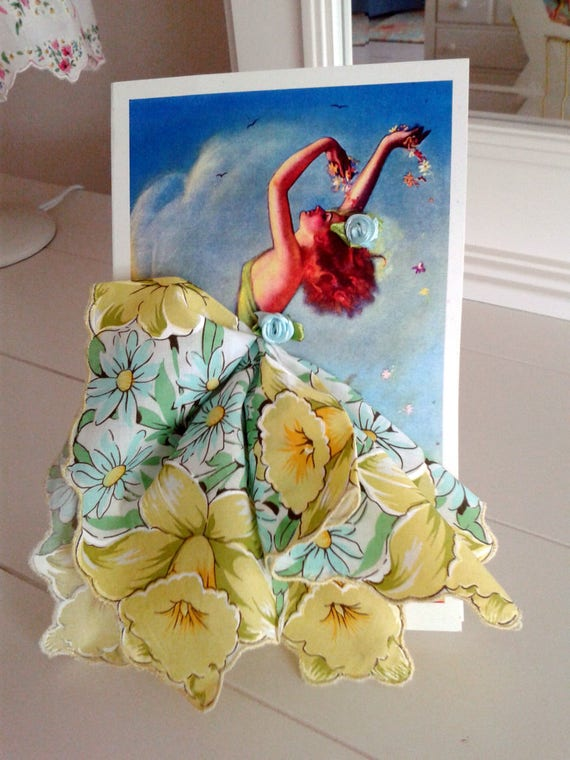 Art Deco Spring  Dance Keepsake Hankie Card