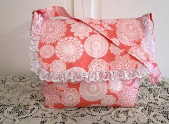 Lace Doilies Pink Tote Purse