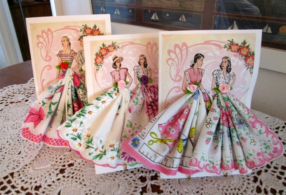 Lovely Ladies of Fashion Hankie Cards