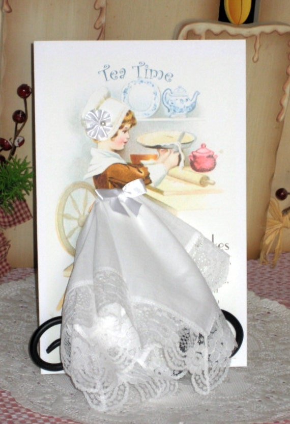 Little Lady Tea Time Keepsake Hanky Card