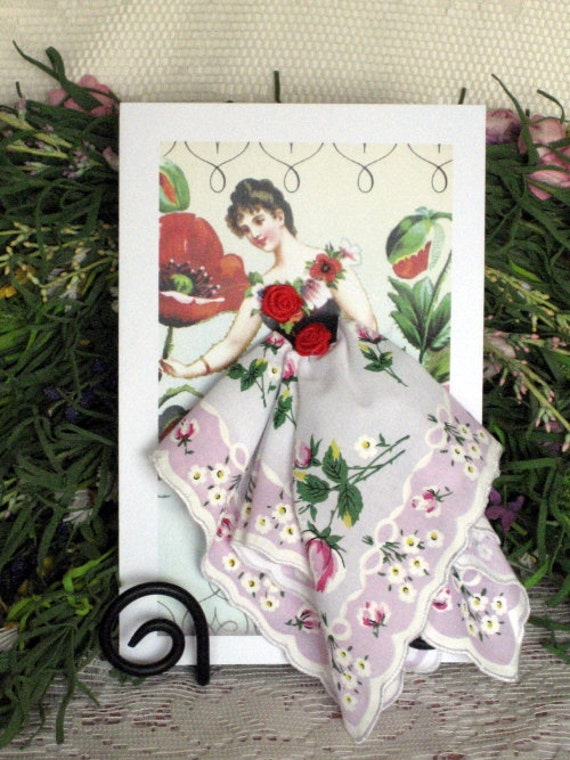 Rose Flower Fairy Hanky Card