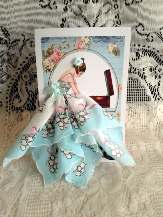 Air Castles Flapper Girl Keepsake Hankie Card