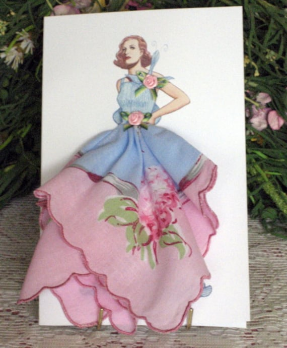 1925 Rochas Taffeta Dress Keepsake Hanky Card