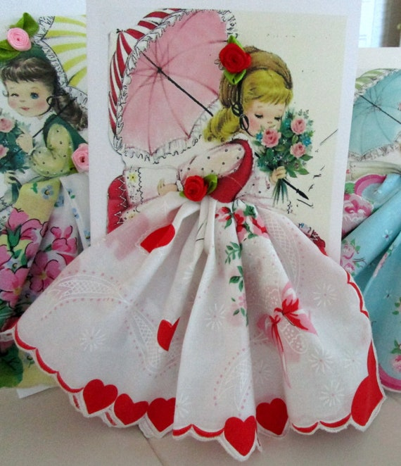 Valentine Parasol  Keepsake Hanky Card