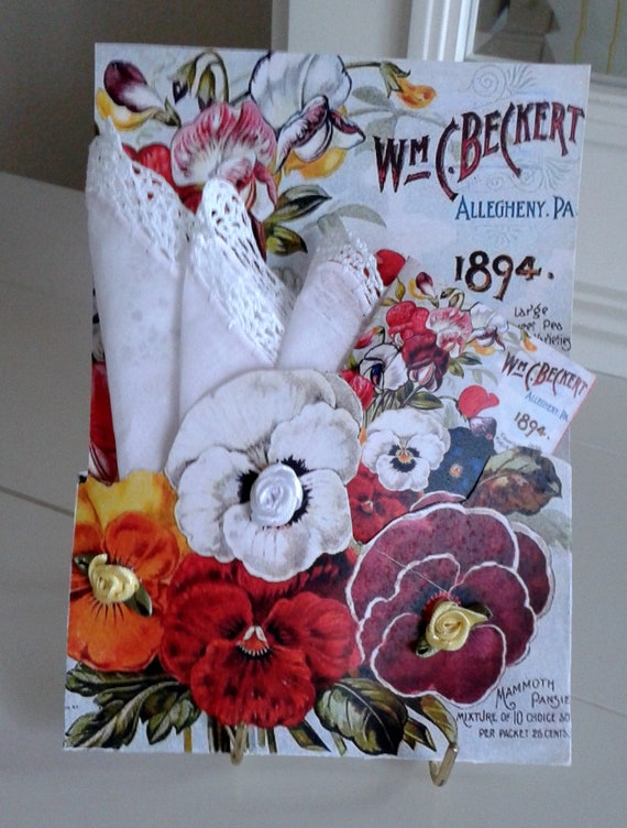 Seed Packet Keepsake Hanky Card Wm C Beckert