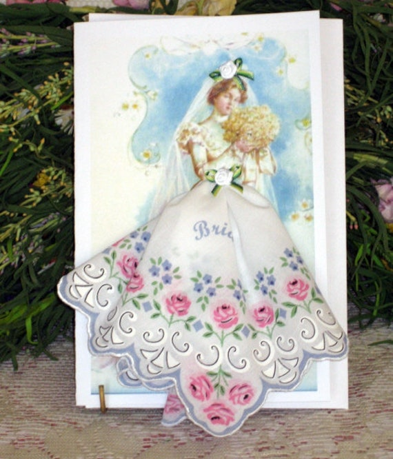 June Lovely Bride Hankie Card