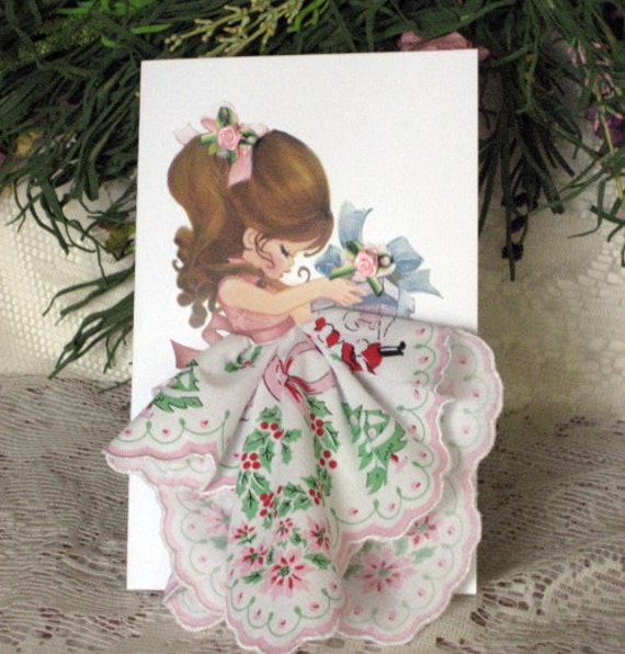 Little Lady Christmas Keepsake Hanky Card