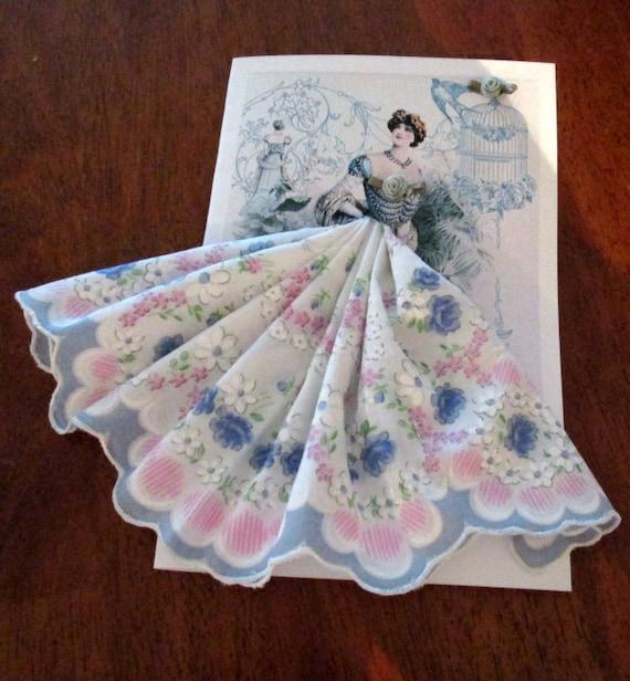 Lady in Blue Keepsake Hankie Card