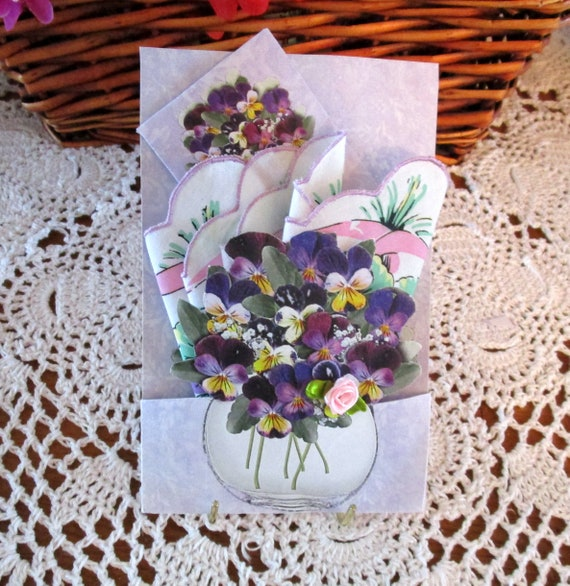 Floral Bowl Keepsake Hankie Card