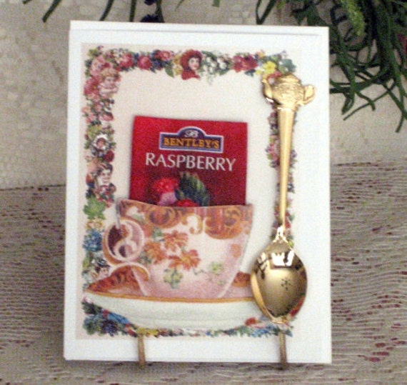 Pink Teacup Keepsake Teaspoon Card