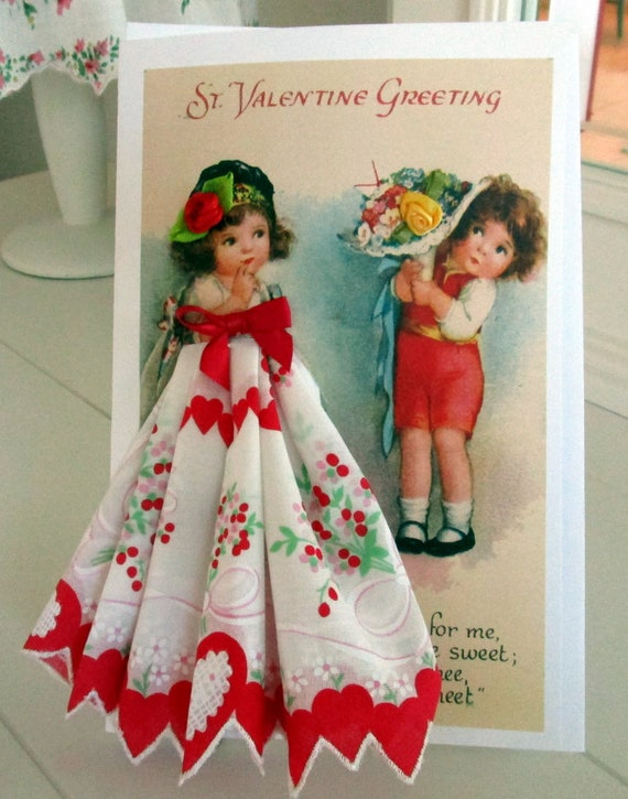 Valentine Flowers Keepsake Hankie Card