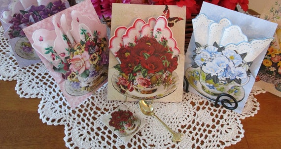 Keepsake Teacup Hankie Cards