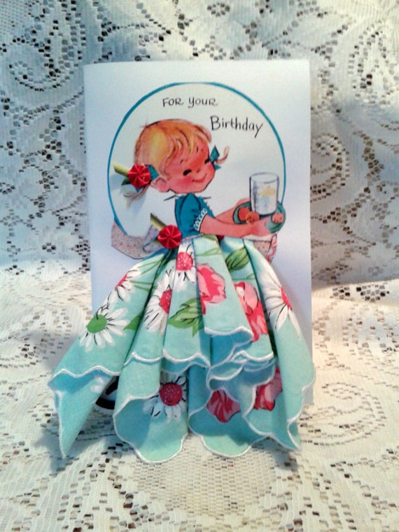 Little Lady Birthday Keepsake Hanky Card