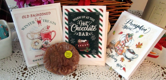 Christmas Cards with Hot Chocolate and Cookie Wax Melt